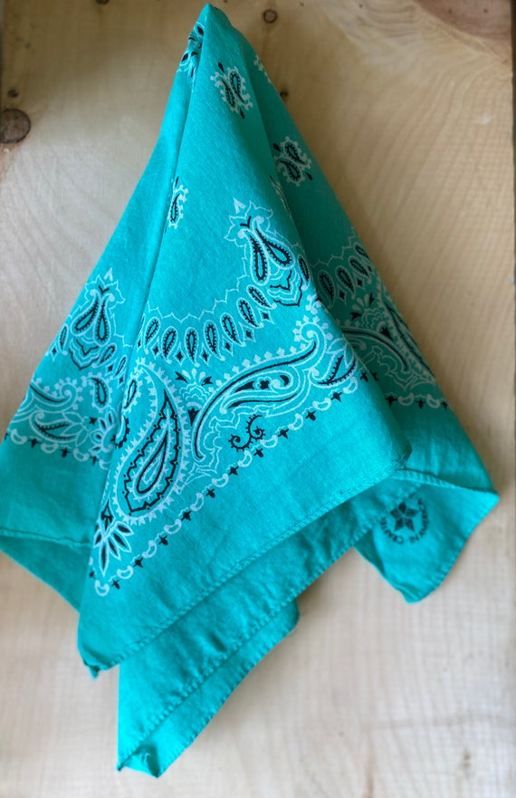 Vintage 100% Cotton Made in USA Bandana in Sea Foam Green