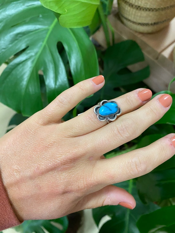 Vintage Sterling Silver + Turquoise Ring Size 5