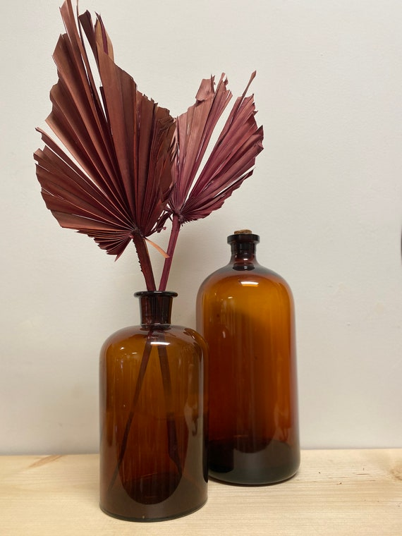 Vintage Amber Glass Apothecary Jars