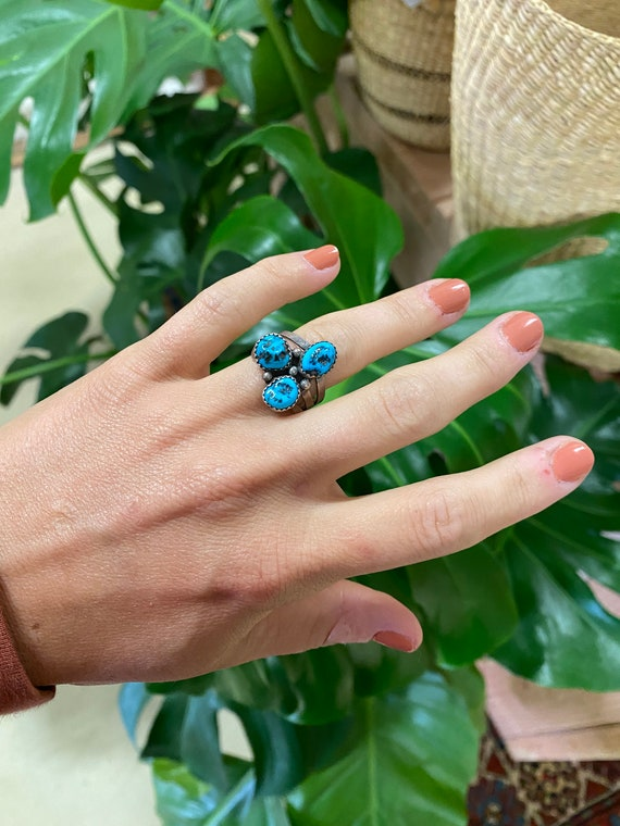 Vintage Sterling Silver + Turquoise Cluster Ring Size 7.75
