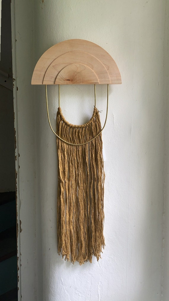 Large Maple, Brass, Linen Wall Hanging