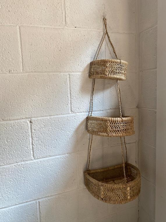 Luna Handwoven Tree Bark Hanging Basket