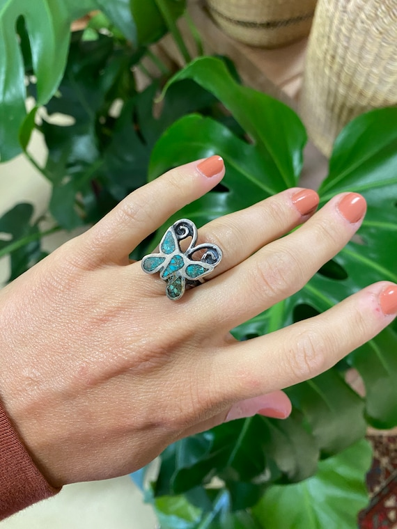 Vintage Sterling Silver + Turquoise Butterfly Ring