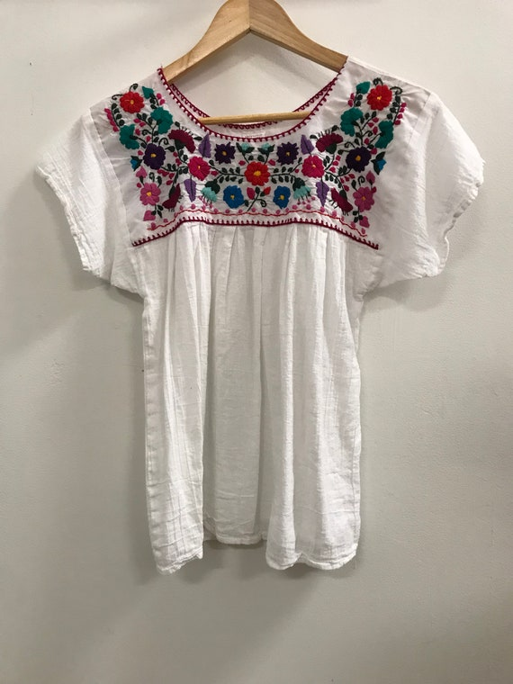Vintage Mexican Embroidered Cotton Blouse
