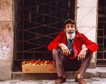 Apple Seller, The Streets of Old Havana, Cuba, Signed Art Print / Cuban Street Seller