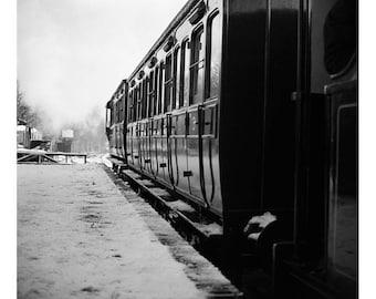 Locomotive, Mid-Suffolk Light Railway,  Signed Art Print / Black And White Train Photography / Train Station Photo