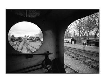 Engine View, Mid-Suffolk Light Railway Signed Art Print / Black And White Railway Locomotive Photography / Train Photo