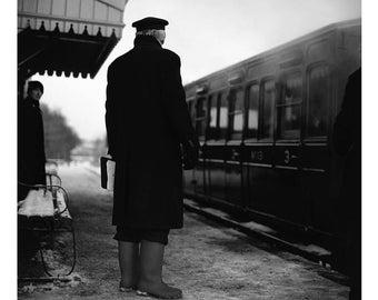 Railway Guard, Mid-Suffolk Light Railway, Signed Art Print / Black And White Locomotive Photography / Train Photo