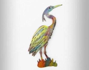Great Blue Heron, heron pin, heron jewelry, heron brooch, flame painted copper, west coast bird, blue heron jewelry, wetlands, coastal bird