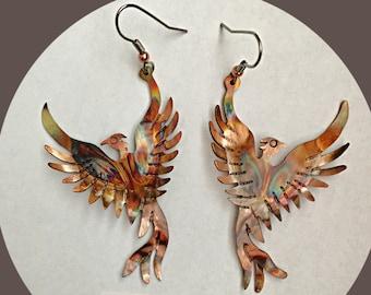 phoenix earrings, phoenix rising, phoenix bird, phoenix jewelry, firebird, flame painted copper, hammered copper, copper phoenix, Bestseller