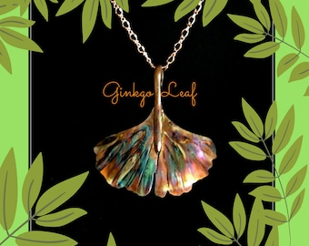 ginkgo leaf pendant, ginkgo leaf jewelry, ginkgo leaf necklace, flame painted copper, copper ginkgo leaf, torched copper, statement necklace