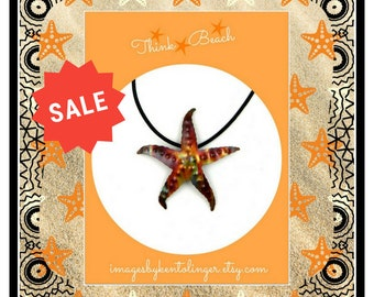 RED TAG SAVES 10%, sea star necklace, starfish pendant, starfish necklace, starfish jewelry, Pacific Northwest, copper starfish