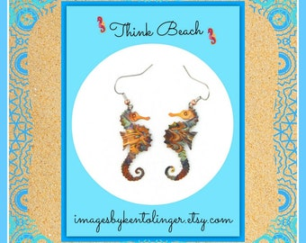 seahorse earrings, seahorse jewelry, oxidized copper, flame painted, fire torched copper, nautical jewelry, sea life, marine life, beachwear