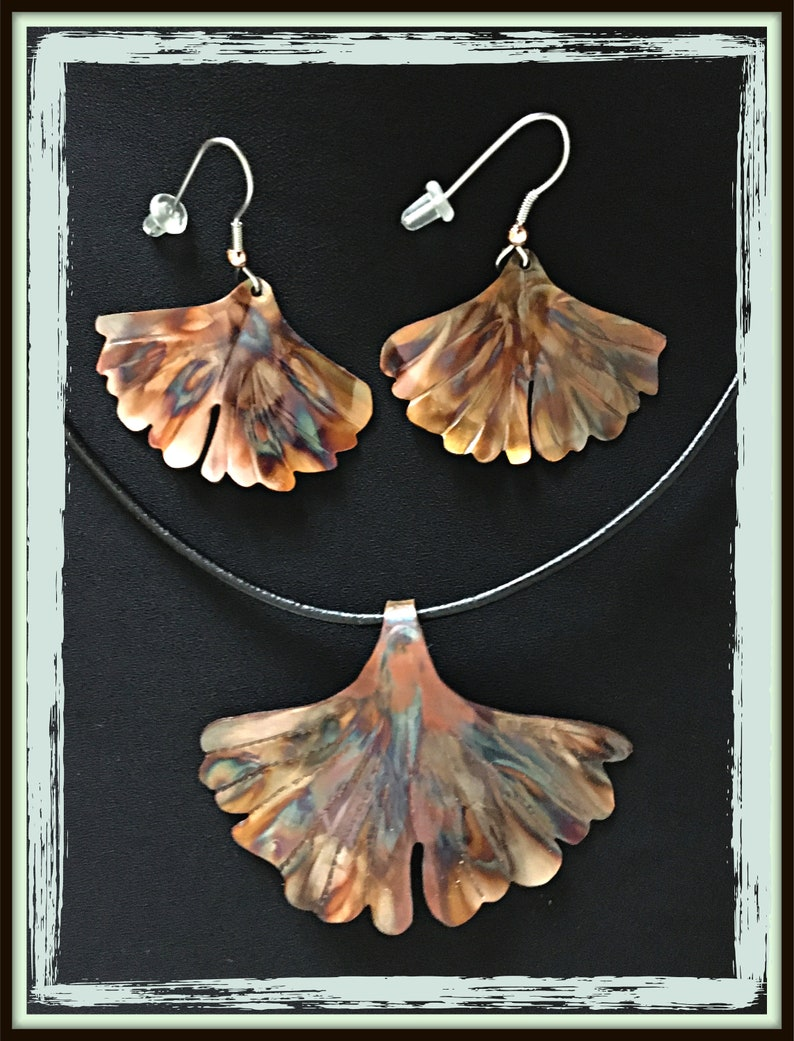 matching set necklace earring set copper jewelry set jewelry gift set ginkgo leaf pendant statement jewelry set ginkgo leaf earrings