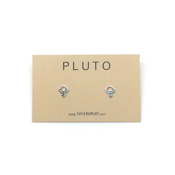 Pluto Earrings Planet Symbol Studs Simple Geometric Stud Etsy
