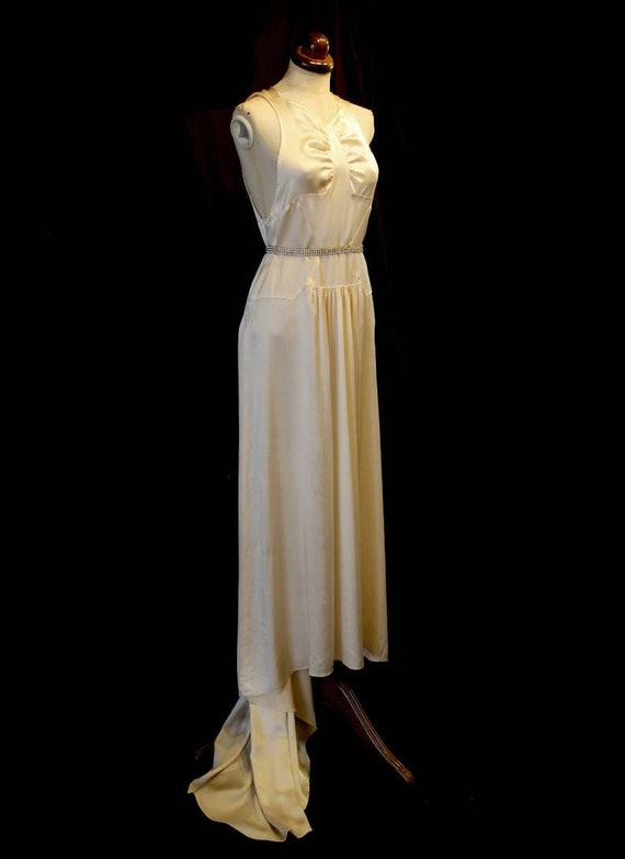 Vintage 1930s champagne silk satin wedding dress