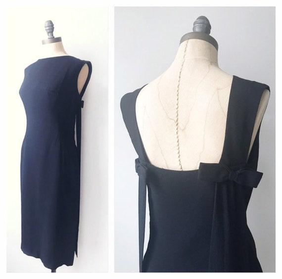 Vintage 1960s Black Rayon Sheath Shift Dress   Aud