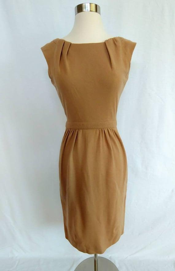 1950s Carlye Camel Wool Day Dress