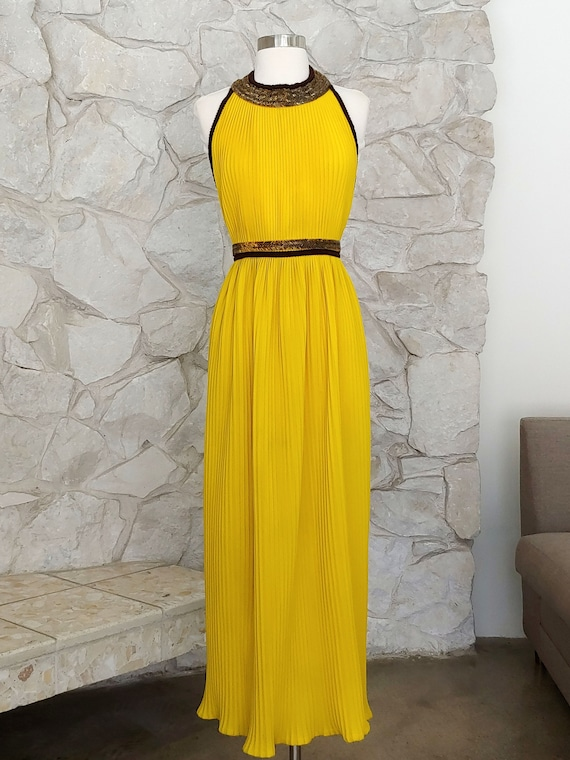 Valderi 1960s Bright Yellow Maxi Dress | XS