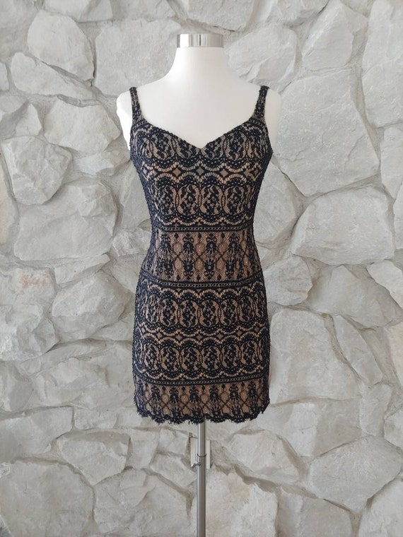 1990s Vintage Cache Beaded Cocktail Dress | XS | 2