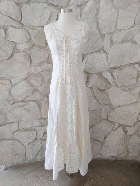 1970s Vintage Gunne Sax Cotton Maxi Dress   XXS