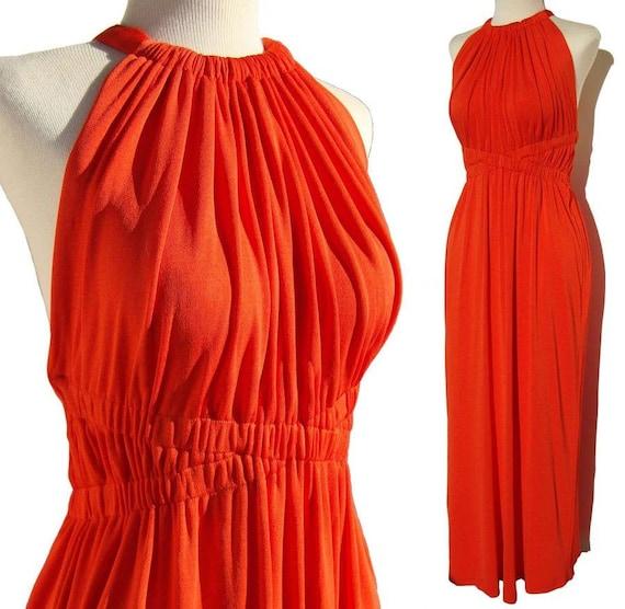 Vintage 70s Donald Brooks Dress Tangerine Orange G
