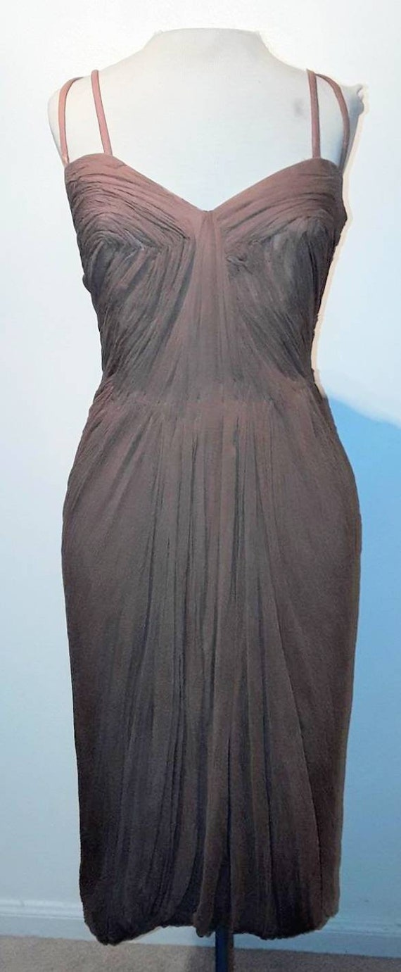 1950s Madame Gres Style Brown Silk 50s Cocktail Dr