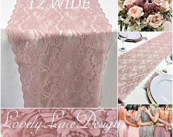 Wedding Lace Table Runner/3ft-11ft long/Dusty Rose /Wedding centerpiece/Wedding Decor/Shop Closing