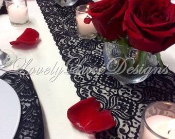 BLACK Lace Table Runner, 3ft-10ft x 6.5in , Lace Table Overlay/Table Decor, Weddings, Tabletop Decor/Wedding Decor/centerpiece/valentines