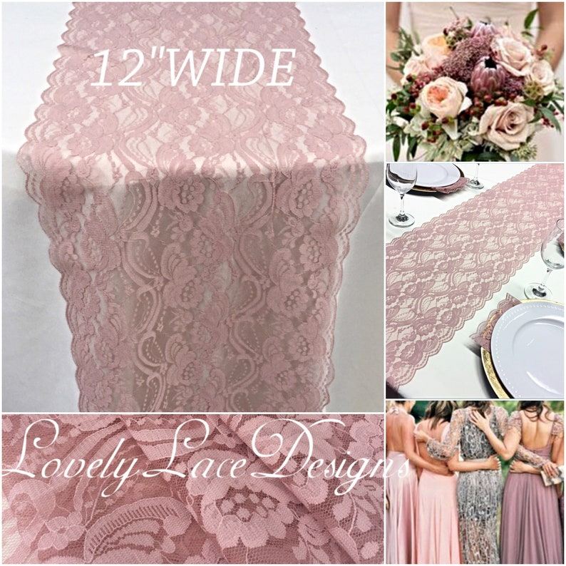 Wedding Lace Table Runner/3ft-11ft long/Dusty Rose /Wedding image 0