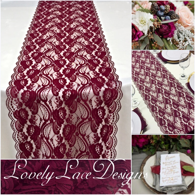 Lace Table Runner for Weddings/BURGUNDY/12wide/ 3ft-10ft image 0