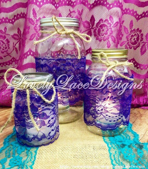 wedding decor purple lace trim mason jar lace 4 inch wide 10 yards