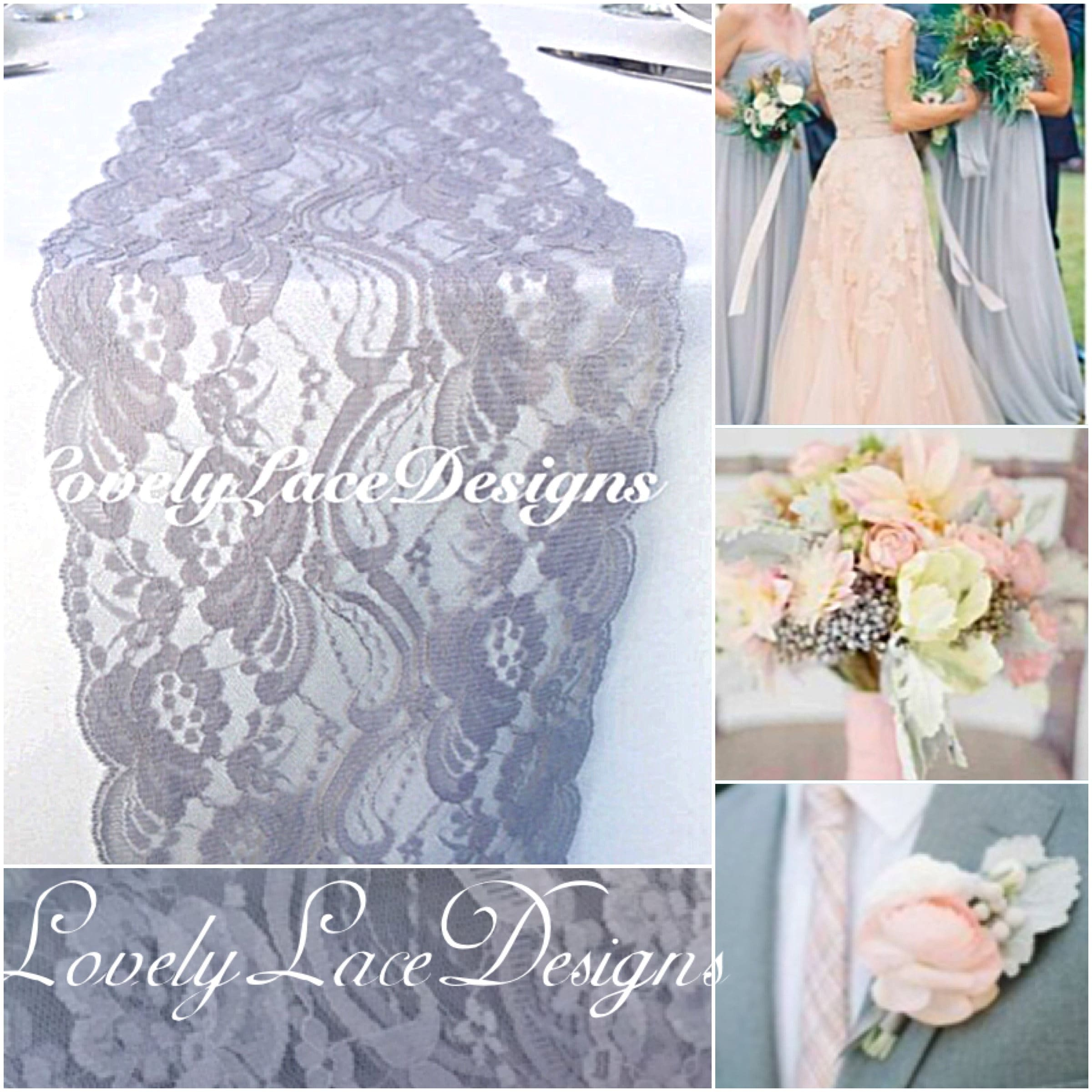 GRAY/SILVER Weddings! Lace Table Runner, 3ft-10ft long x 7wide ...
