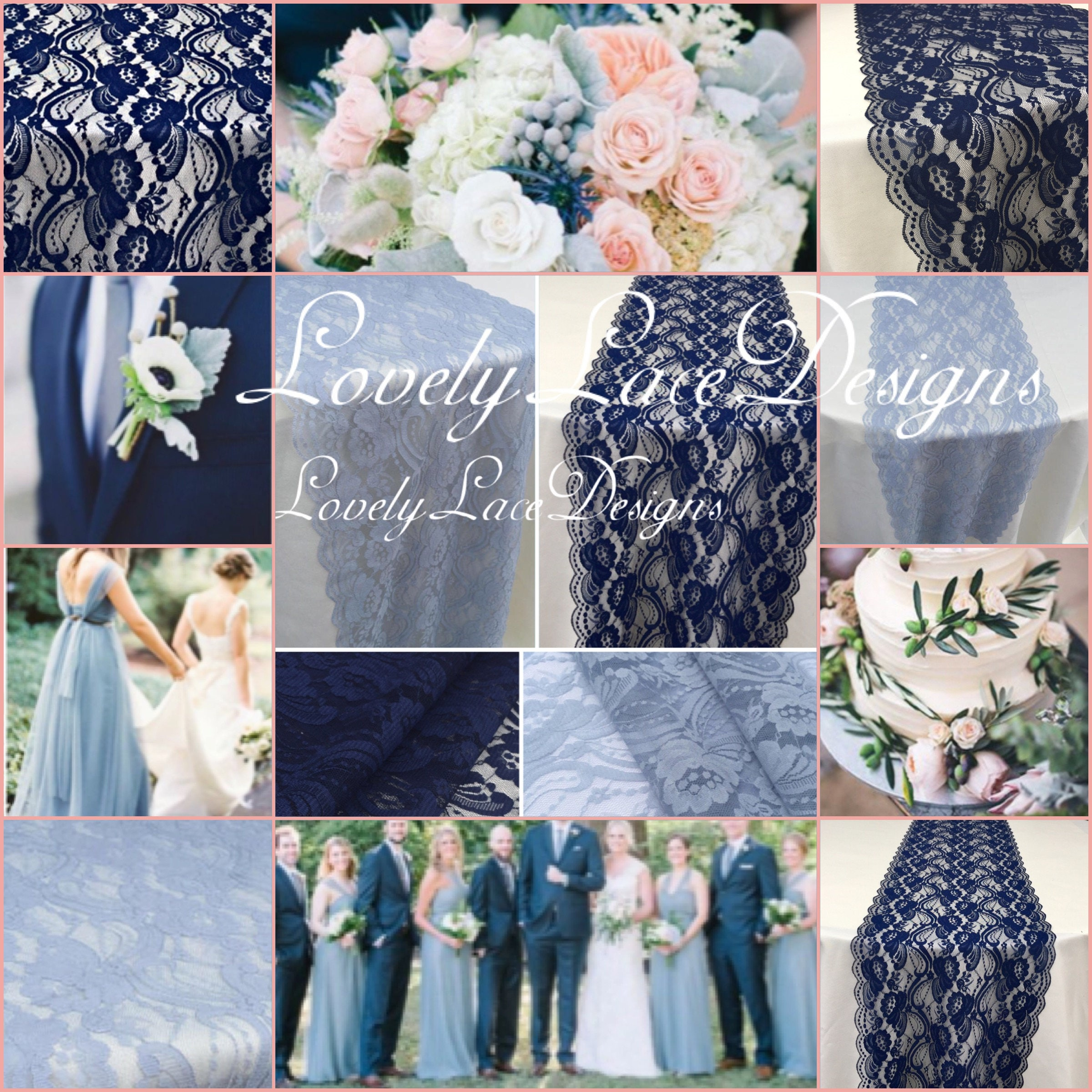 Navy Blue/Dusty Blue Lace Runners/3ft-11ft long x12in wide/Wedding ...