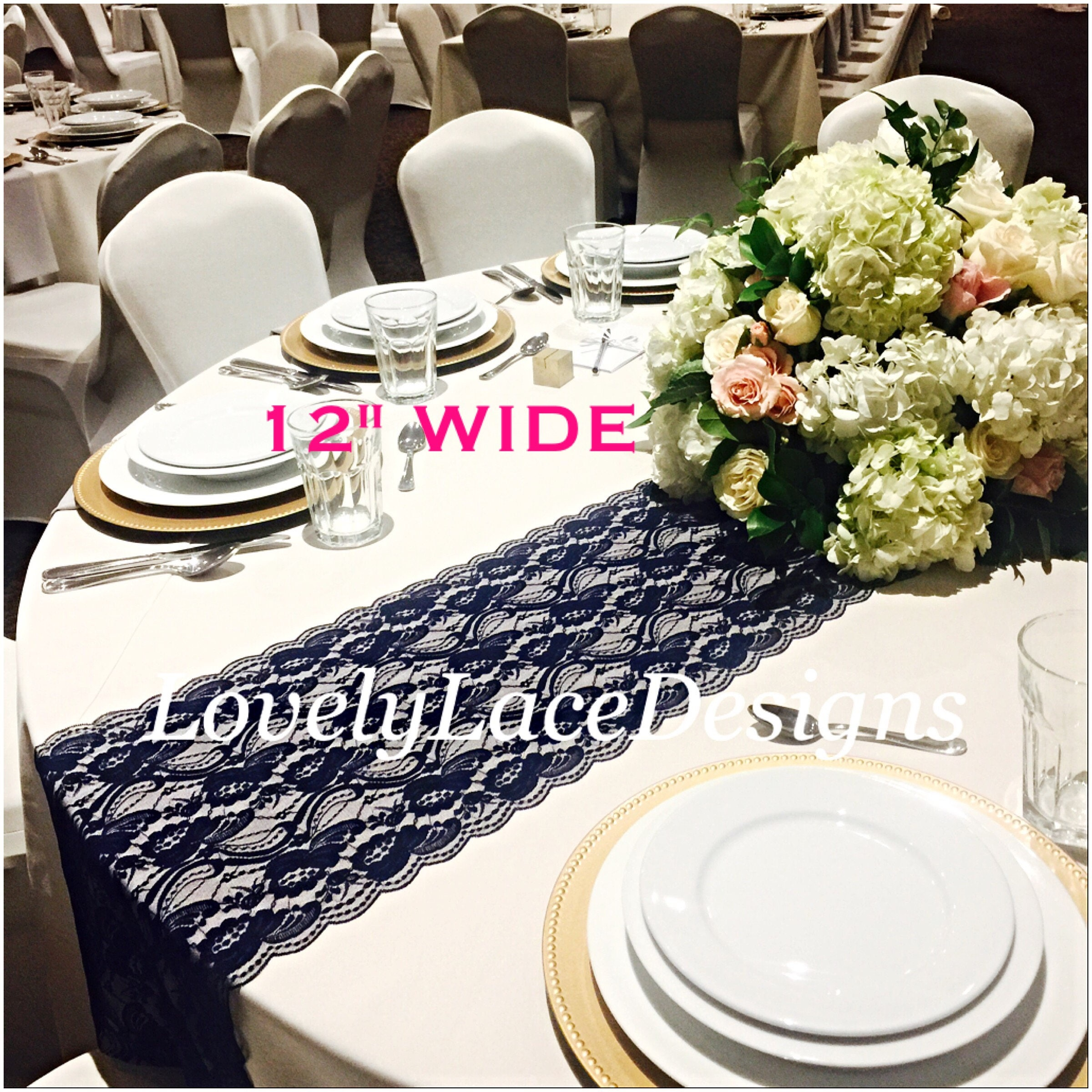 navy burgundy lace table runners 3ft 11ft long 12in wide wedding