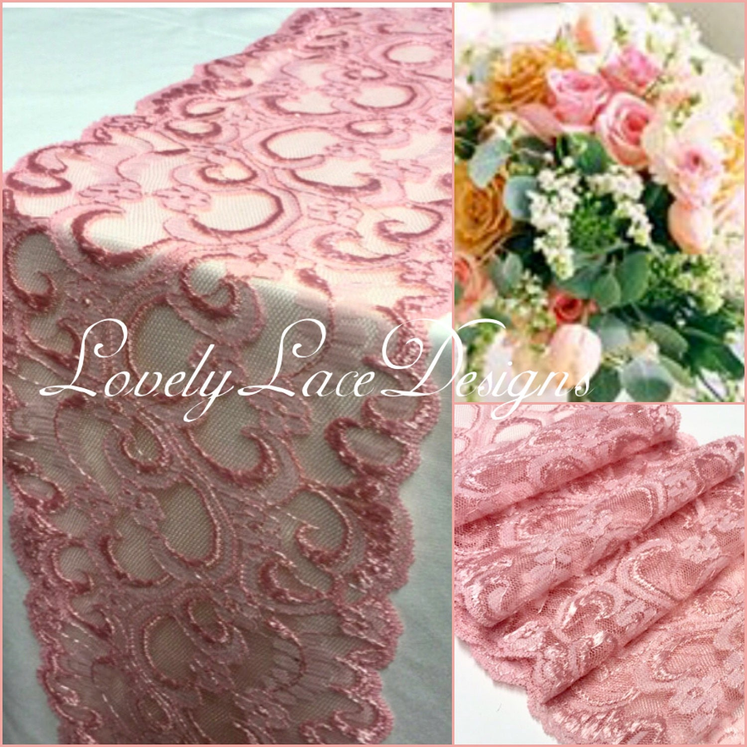 4ft/Pink/Cherry Blossom color/ Lace Trim/Table Runners /Lace Overlay ...