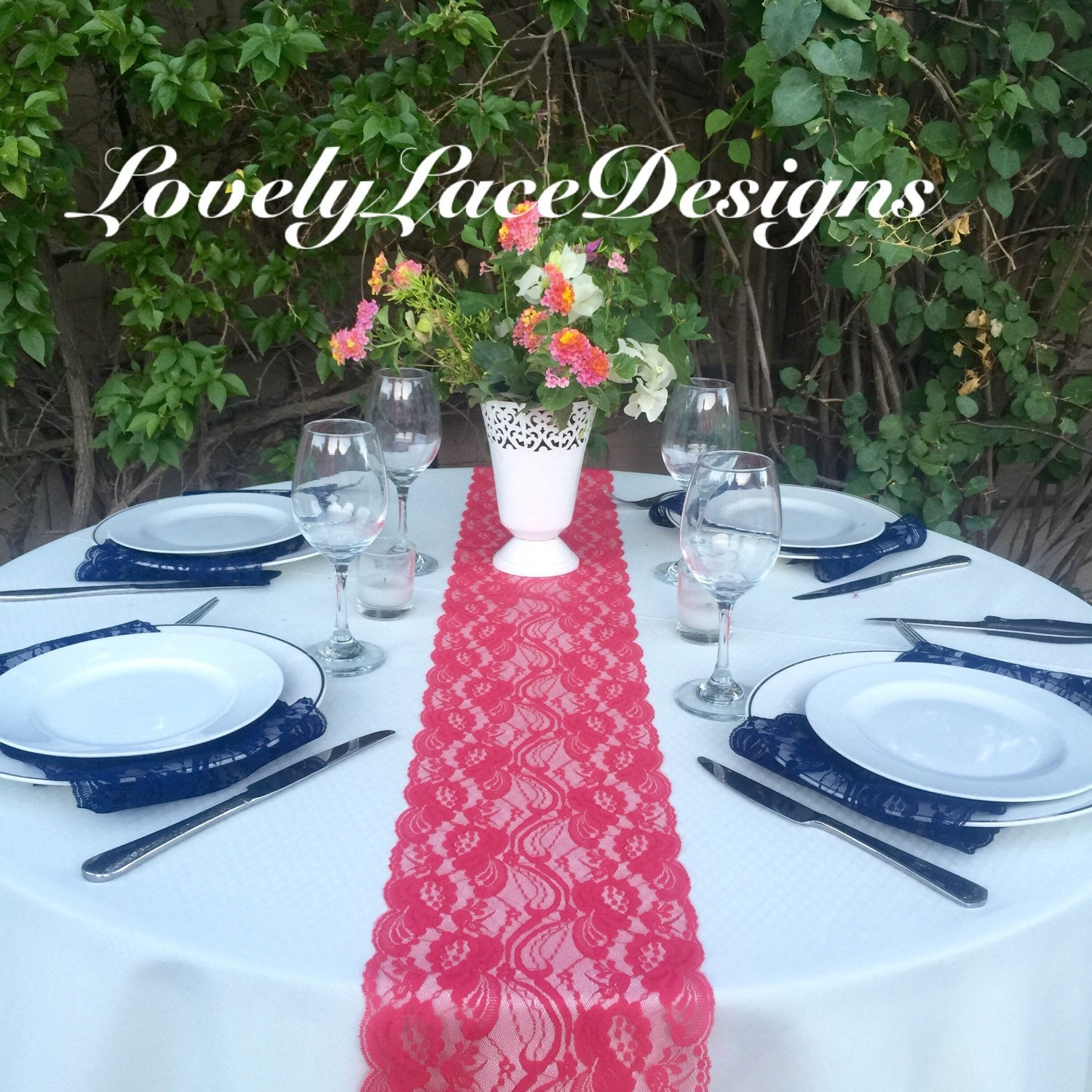 Coral Lace Table Runner3Ft 10Ft Long X 7 Widewedding