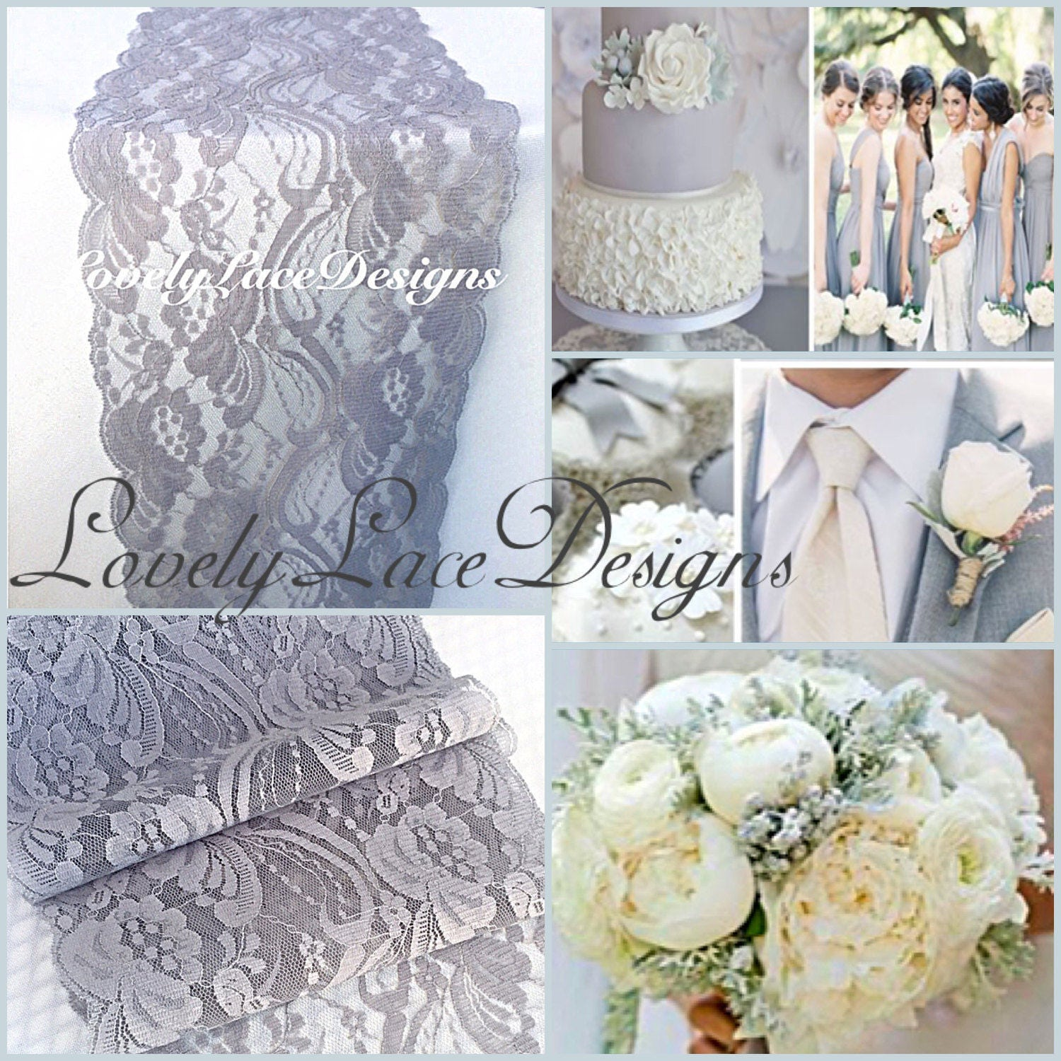 30ft Gray/Siver Lace Table Runner/ 7Wide, Wedding Decor, Lace ...