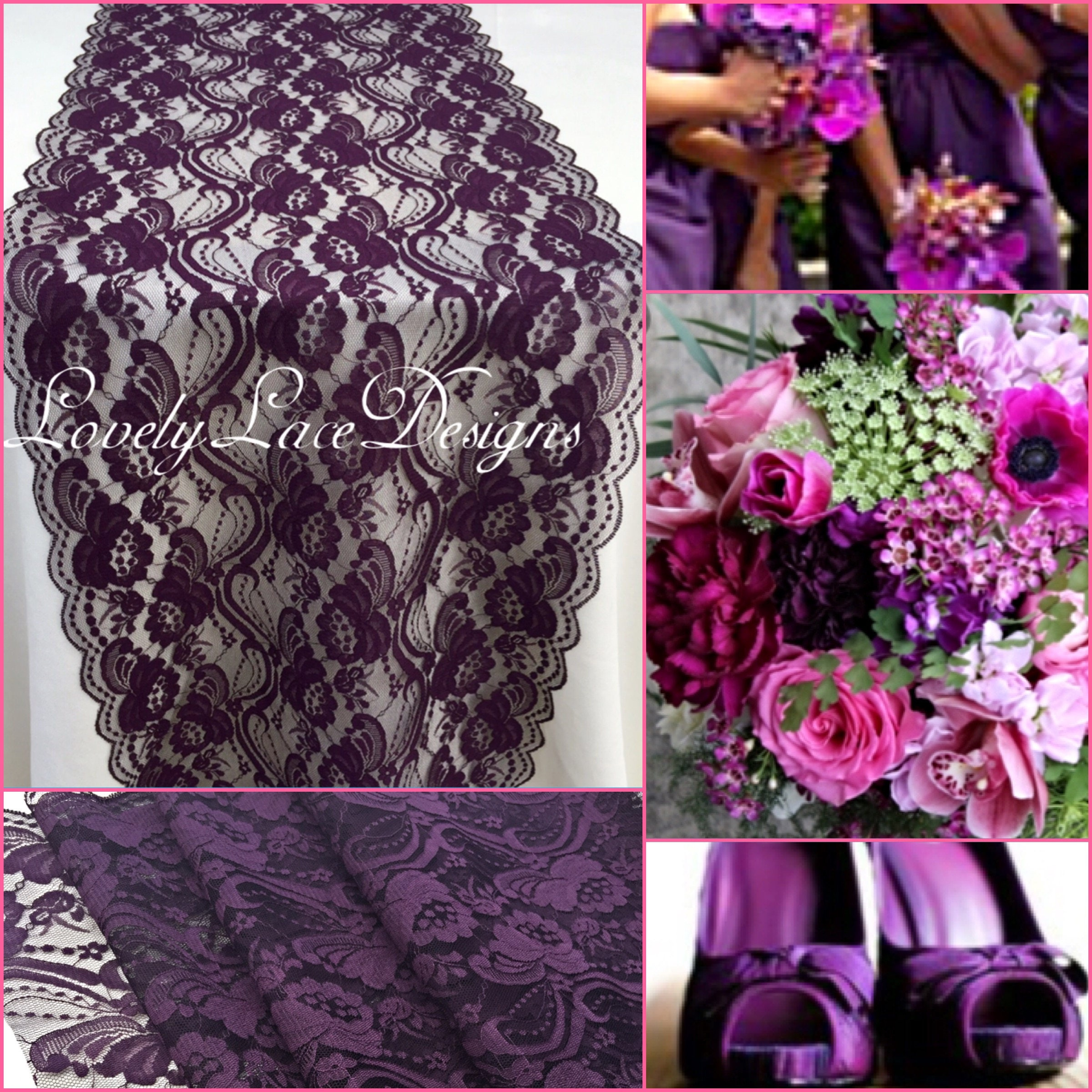 21ft 28ft Plum Eggplant Lace Table Runner 12 Wide Wedding