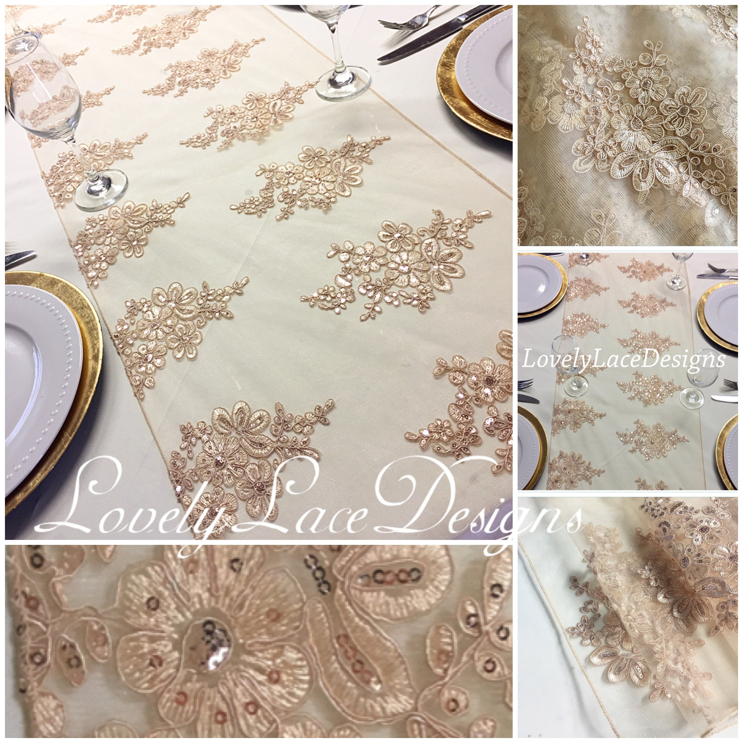 8.5ft/Gold/Champagne Lace Table Runner/15 wide x 90 long/Wedding ...