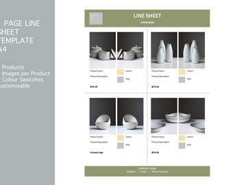 Line Sheet with Colour Swatches, Product Catalogue, A4 Portrait Wholesale Price Sheet