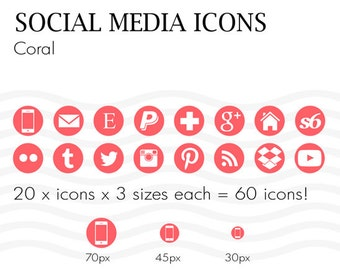 Social Media Icons 60 Coral Pink - Instant Download