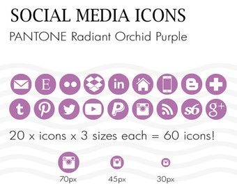 Social Media Icons 60 Pantone Radiant Orchid Purple - Instant Download