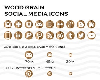 Social Media Icons 60 Timber Wood Grain - Instant Download
