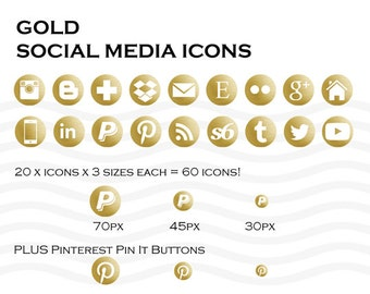 Social Media Icons 60 Gold - Instant Download