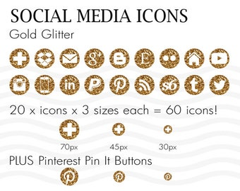 Social Media Icons 60 Gold Glitter - Instant Download