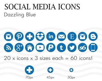 Social Media Icons 60 Pantone Dazzling Royal Blue - Instant Download