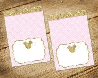 minnie mouse gold glitter pink polka dot food tents table tents foldable