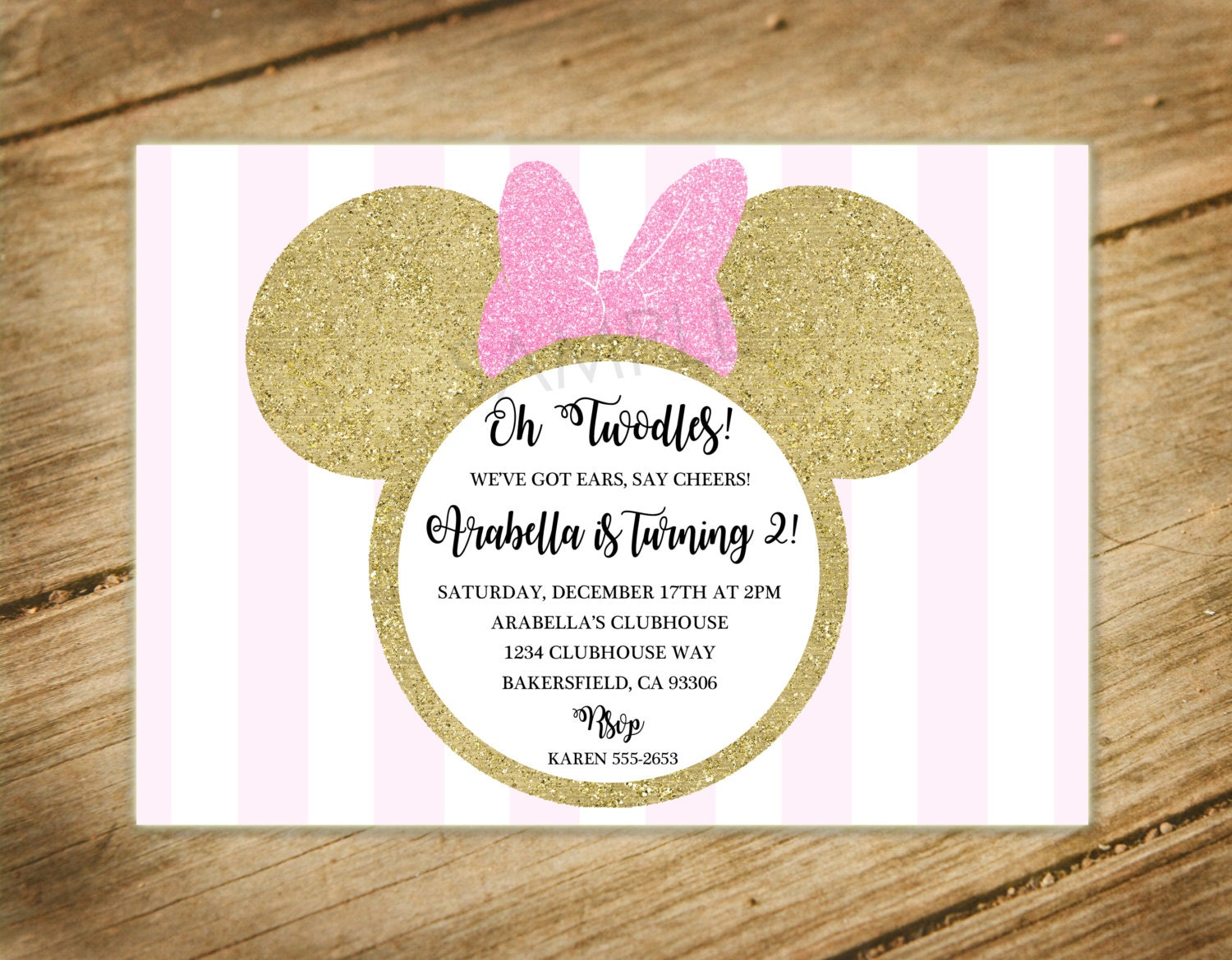 Oh Twodles Pink And Gold Glitter Stripes Shabby Chic