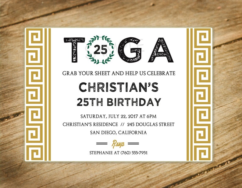Toga Party Greek Themed Birthday Party Invitation With Etsy